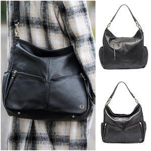 KeriKit Lennox Leather Handbag/Diaper Bag (blk)